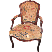 Antique French Louis XV Walnut Open Armchair Fauteuil Circa 1770