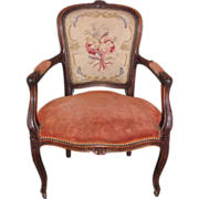 Antique French Walnut Louis XV Style Open Armchair Fauteuil Circa 1880