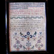 Antique English Georgian Sampler 18th Century