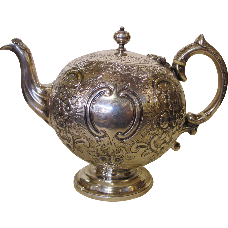 Antique Scottish Sterling Silver Cuthbert Family Bullet Teapot 1861 Edinburgh