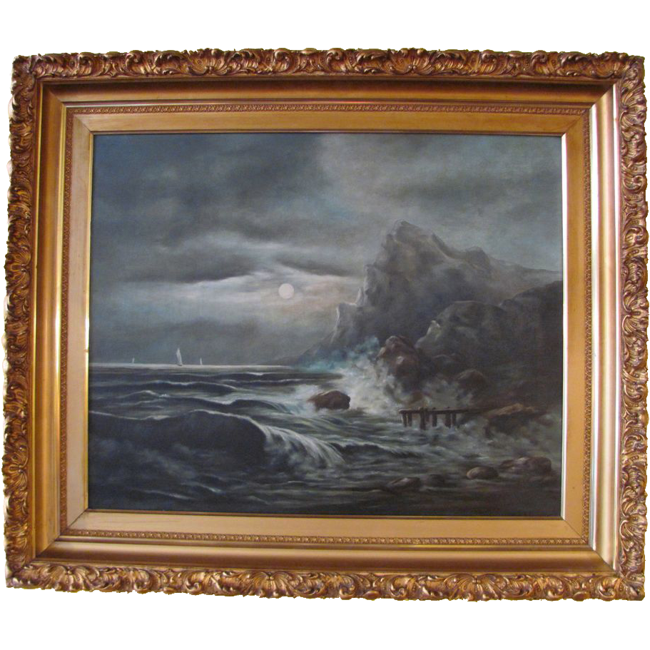 Large Antique Oil on Canvas Seascape Painting Signed J Bodley Circa 1900