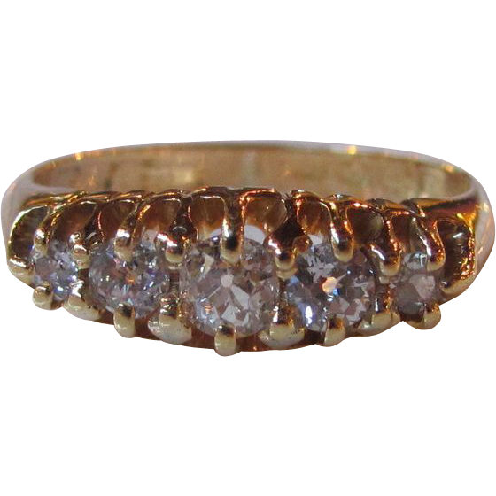 Antique English Edwardian 18K Diamond Ring 1910 .46cts.