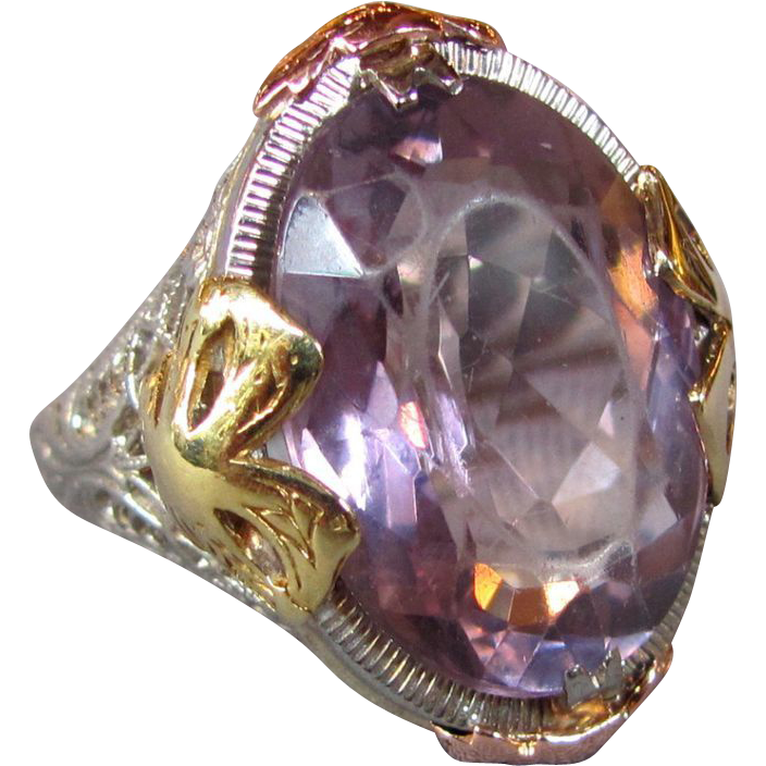 Antique Art Deco 14K Filigree Amethyst Ring 1920's