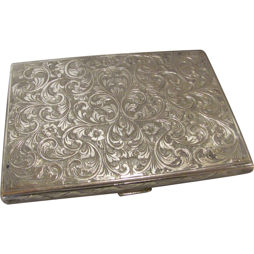 Antique Italian .800 Silver Engraved Cigarette Case Renzo Cassetti