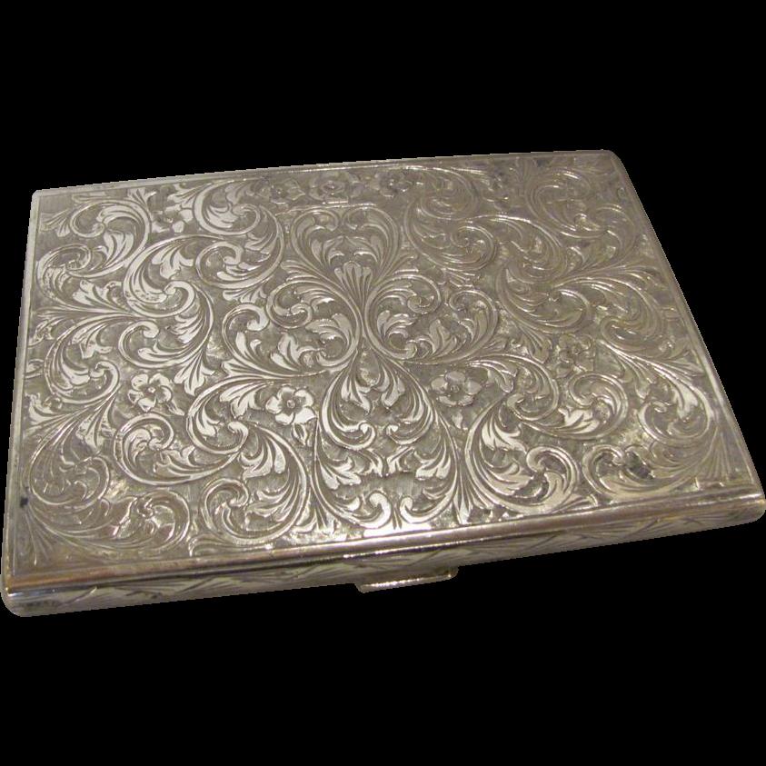 Antique Italian .800 Silver Engraved Cigarette Case Renzo Cassetti