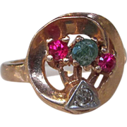Retro Modern 14K Rose Gold Ring Diamond Ruby Emerald 1940's