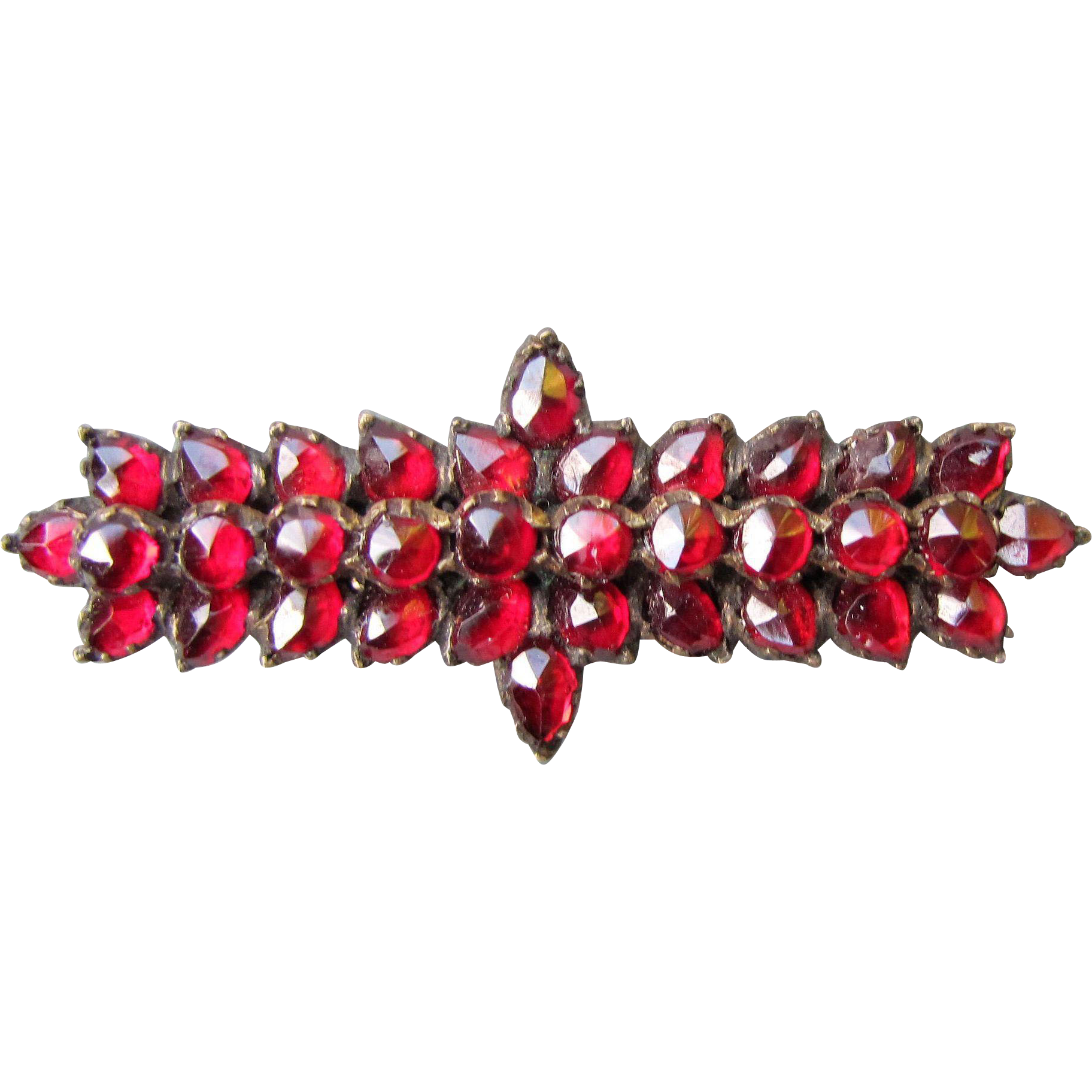 Antique Victorian Garnet Brooch in Silver Circa 1880