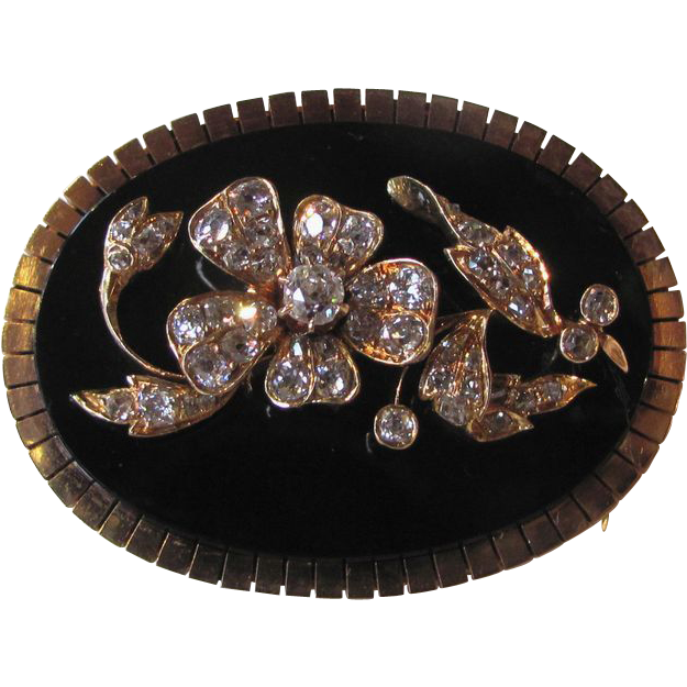 Stunning Antique Victorian 14K Diamond Onyx Brooch Circa 1880