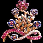 Vintage 18K Diamond Emerald Sapphire Ruby Brooch Circa 1960
