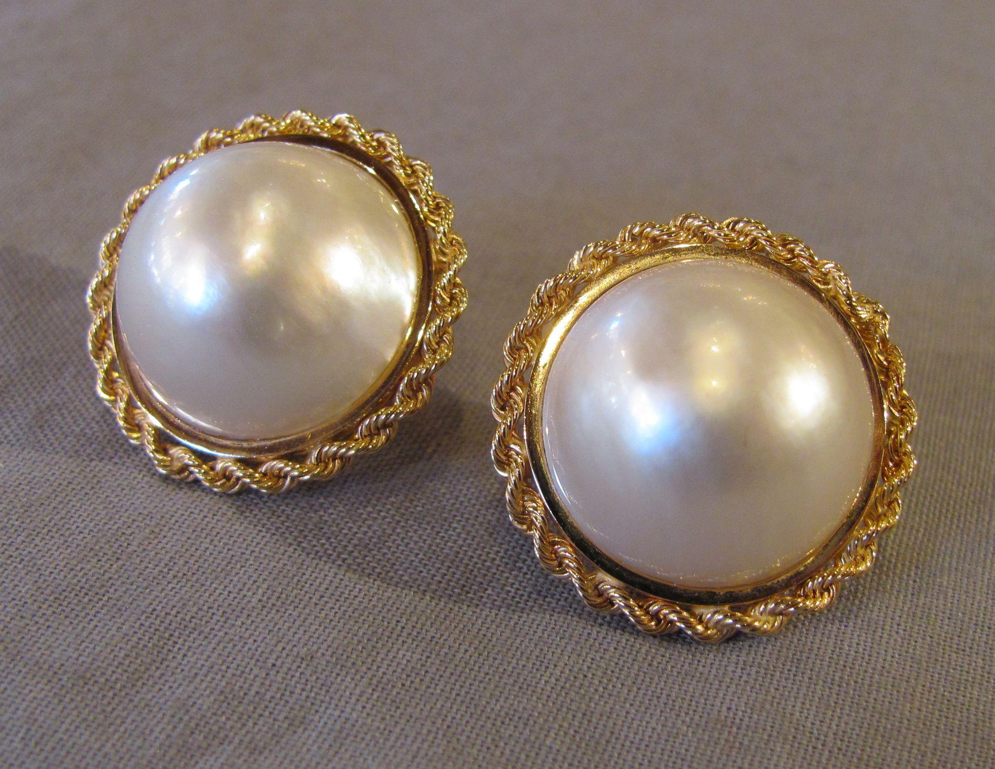 Vintage 1960 S 14k Mabe Pearl Earrings 24mm Back From