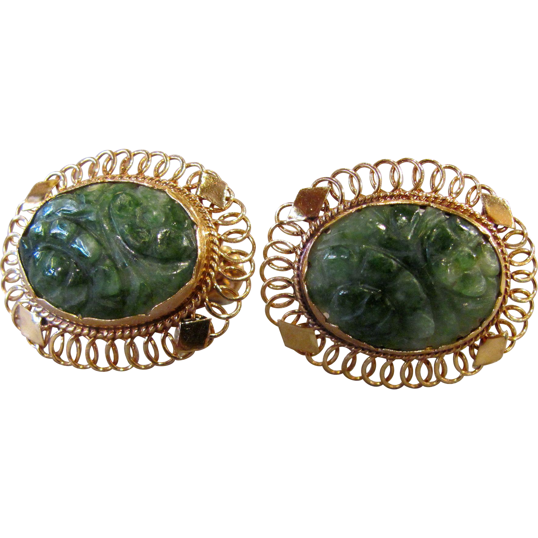 Vintage Estate 14K Jadeite Jade Earrings Screwback