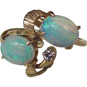 Vintage 1960's Opal and Diamond Ring 14K