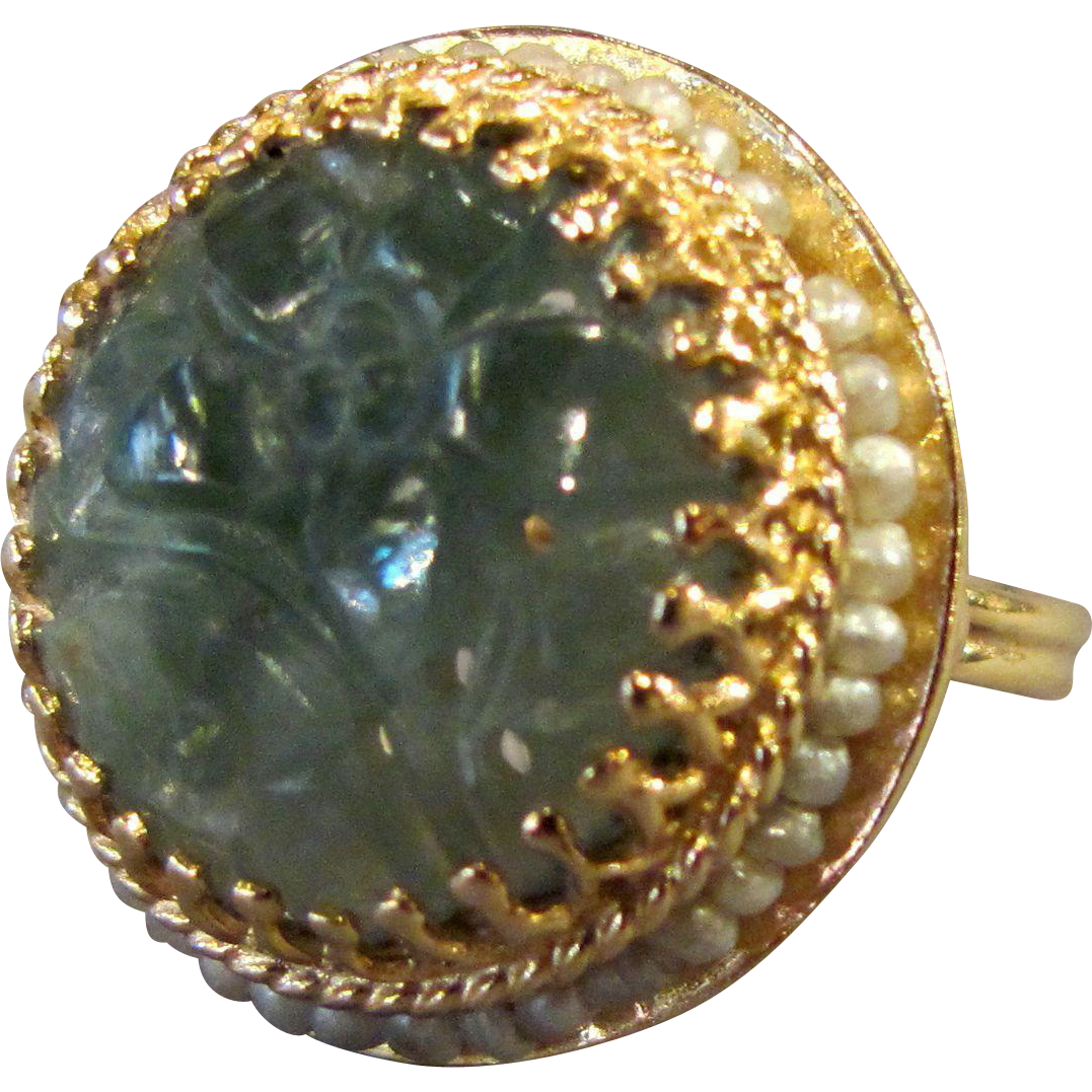 Vintage 14K Carved Jade Ring with Seed Pearl Surround