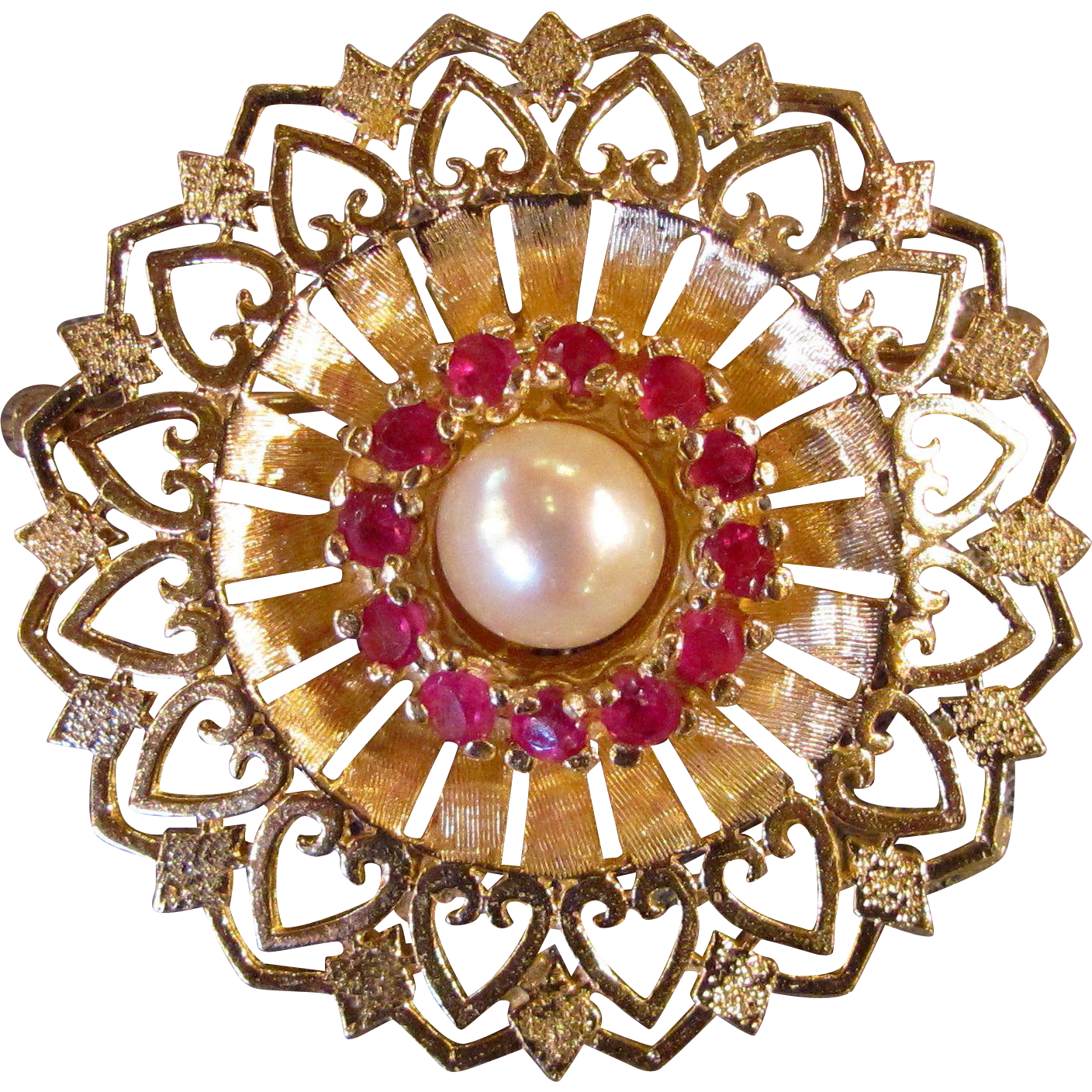 Vintage 14K Ruby and Pearl Brooch Circa 1950