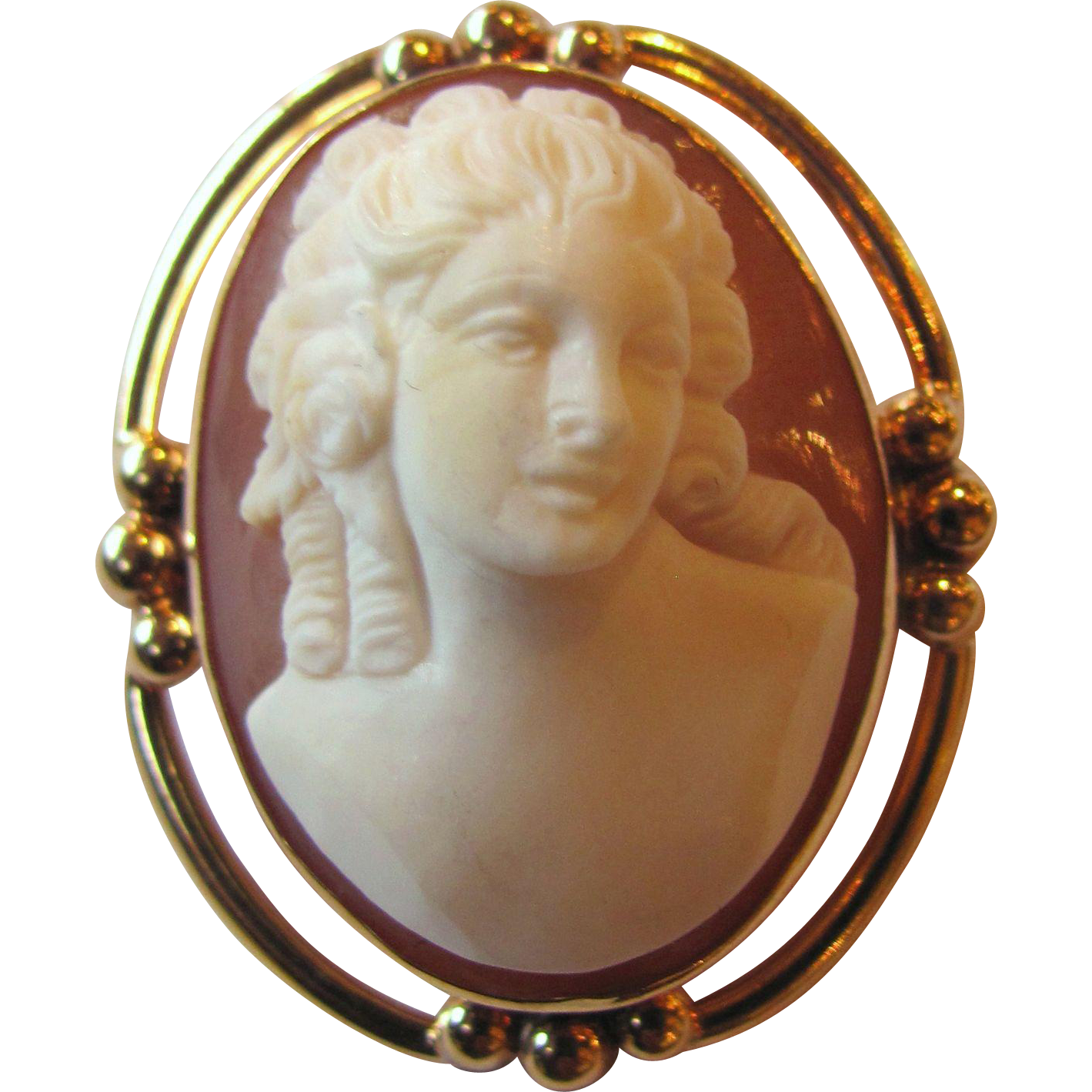 Antique 14K High Relief Shell Cameo Brooch Pendant Circa 1910