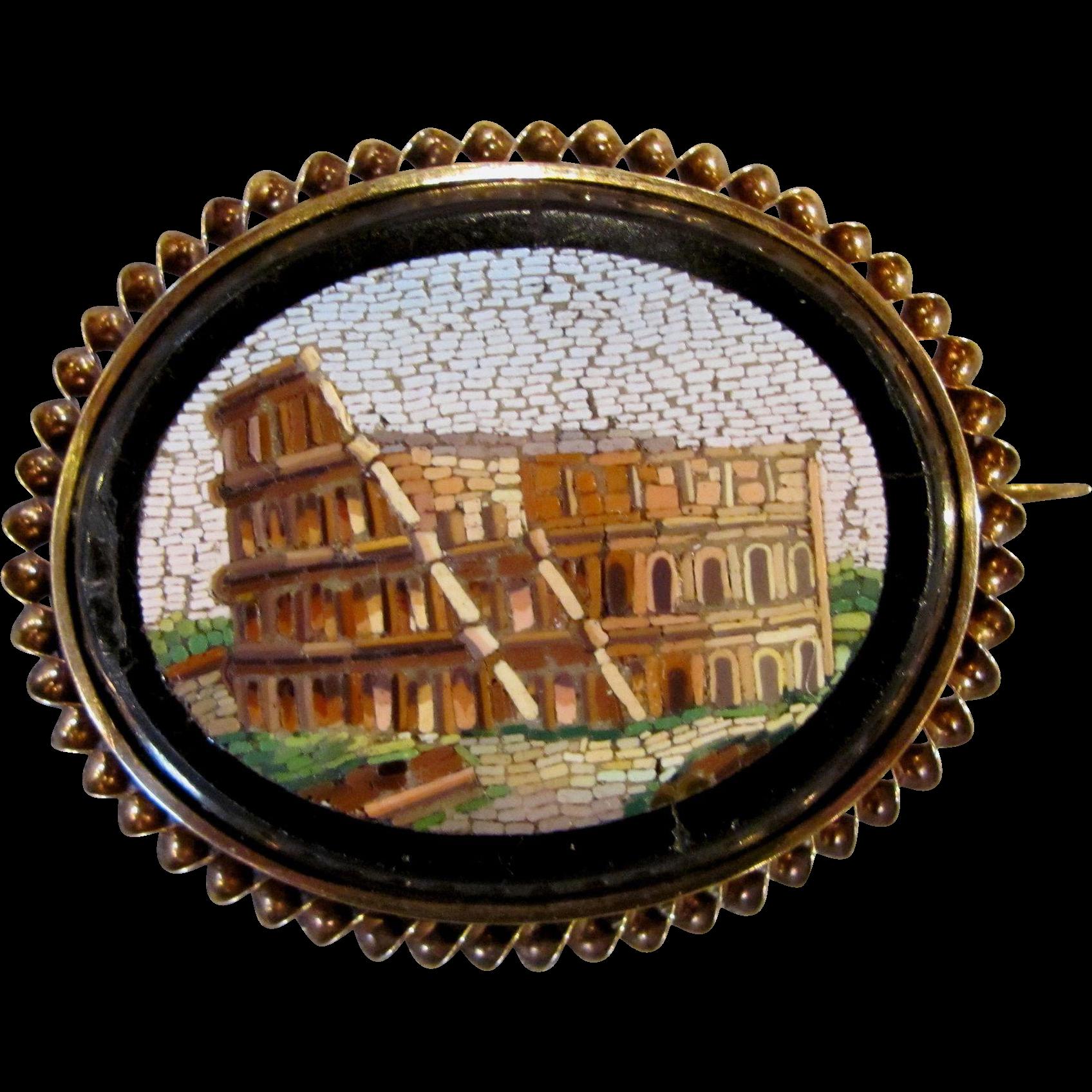 Antique Victorian 14K Micro Mosaic Colosseum Brooch Circa 1860