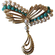 Vintage Estate 14K Pearl and Turquoise Brooch Circa 1960