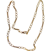 "Vintage 18K Gold Necklace 18"" Figaro Chain"