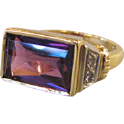 Vintage Estate 14K Amethyst and Diamod Ring 1960's