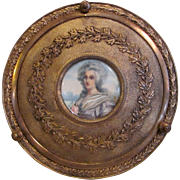 Antique French Gilt Bronze  Portrait Miniature Jewelry Box Circa 1900