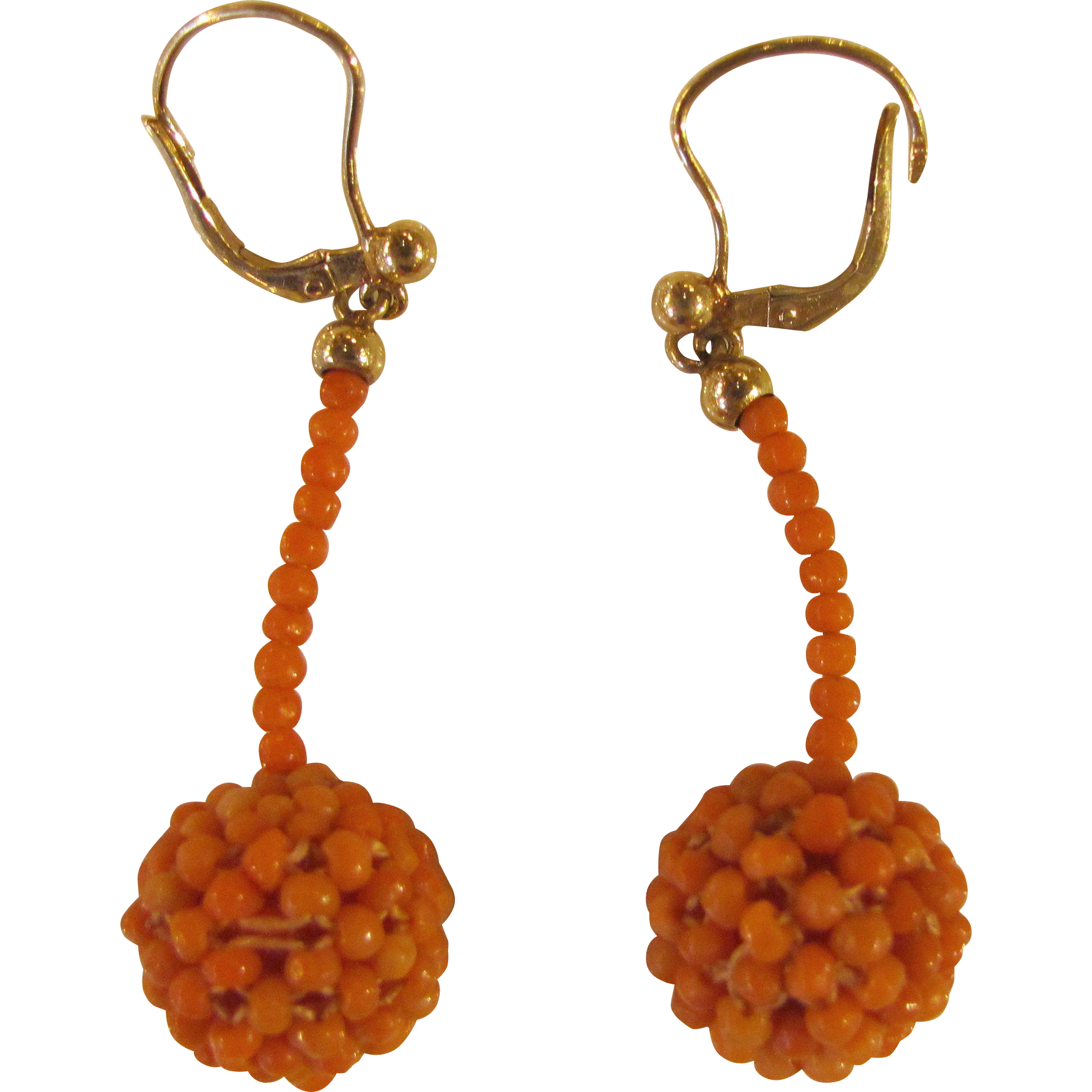 Antique Victorian 14K Coral Earrings 19th Century