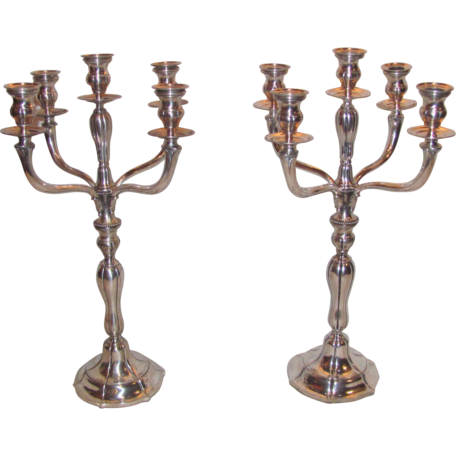 Pair of Antique German  800 Silver 5 Light Candelabra's  Circa 1900