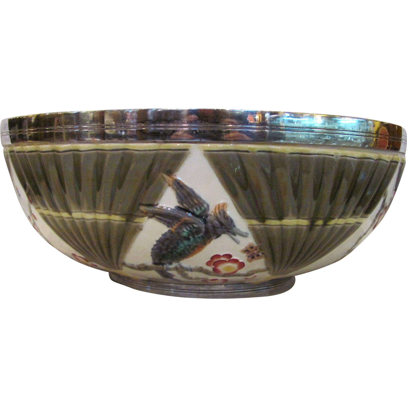 Antique Wedgwood Majolica Bird and Fan Bowl Silverplate Rim Circa 1880