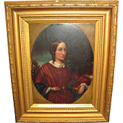 Antique American Oil on Panel Portrait Painting  Circa 1840