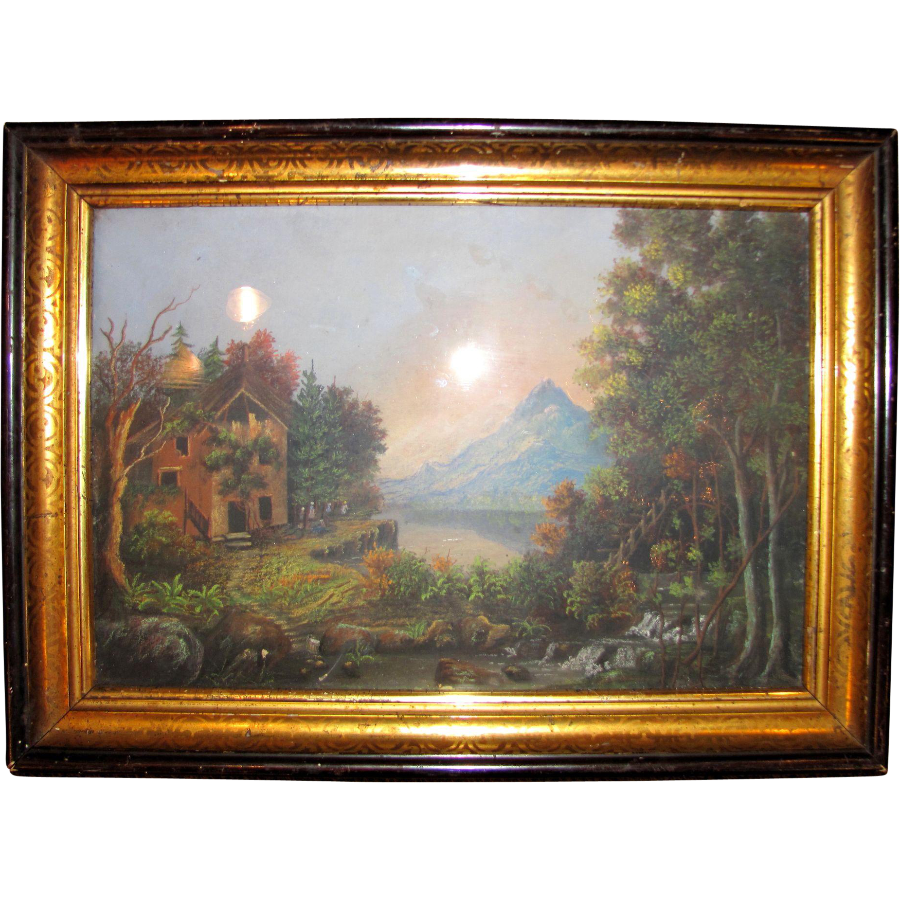 Antique American Hudson River School Pastel Gouache  Painting Circa 1860