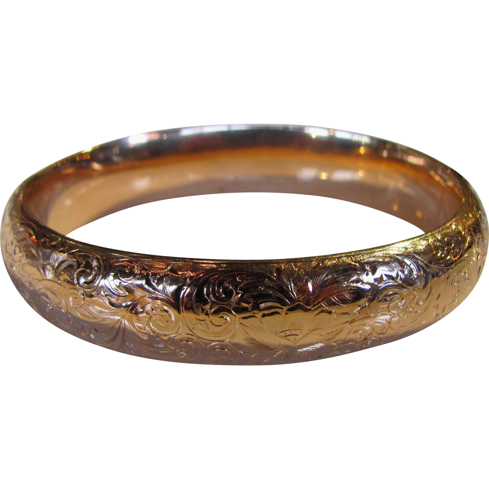 Antique 14K Rose Gold Engraved Bangle Bracelet Circa 1910