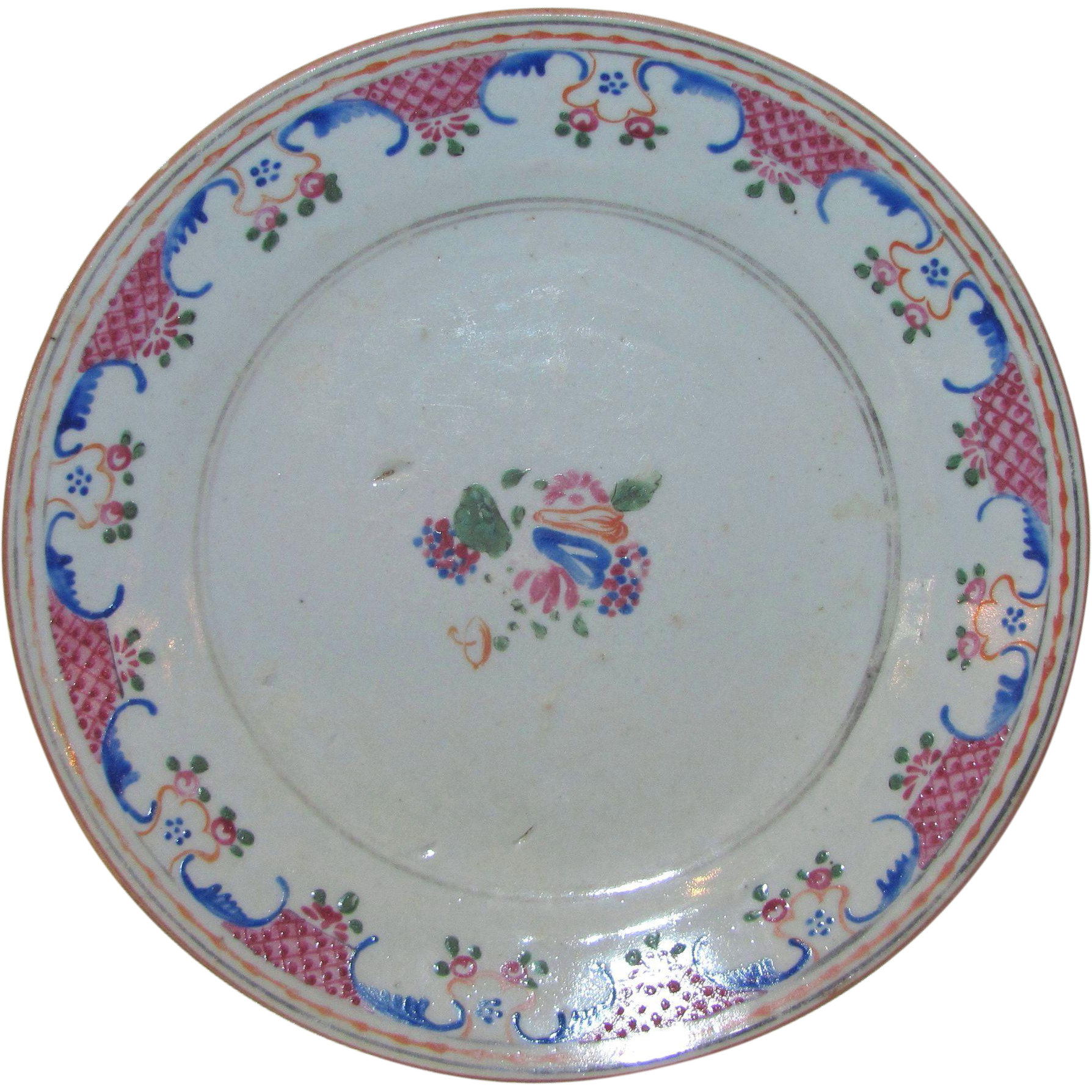 Antique Chinese Export Ceramic Plate Circa 1800