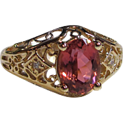 Vintage 14K Filigree Pink Tourmaline and Diamond Ring 1930's