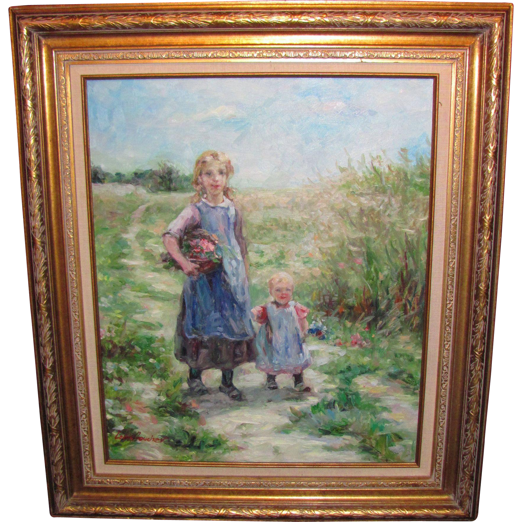 Post Impressionist Oil On Canvas Painting Signed Boucher Mid 20th Century