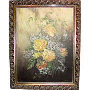 Oil on Board Painting of Roses Signed L.M Steep Circa 1890