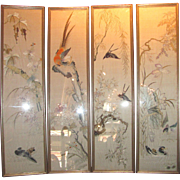 Antique Chinese Framed Embroidered Panels 4 Seasons Circa 1900