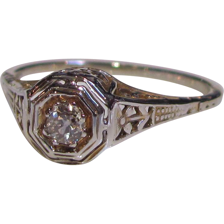 Antique 18K White Gold Filigree Diamond Ring Circa 1915 .10ct.