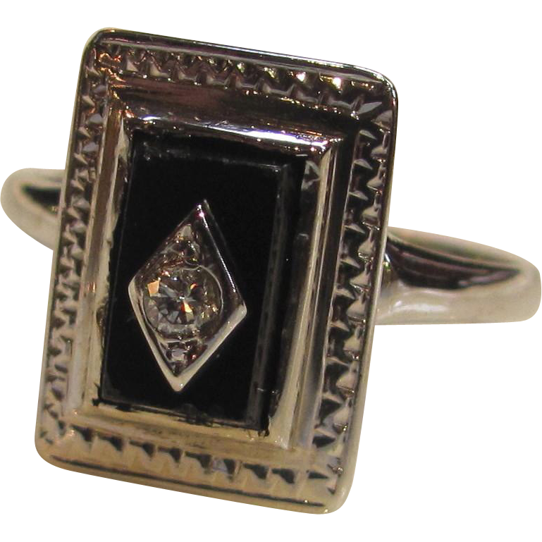 Antique Art Deco 14K White Gold Diamond Onyx Ring Circa 1925