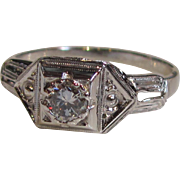 Antique Art Deco 18K White Gold Diamond Ring Circa 1925 .26ct.