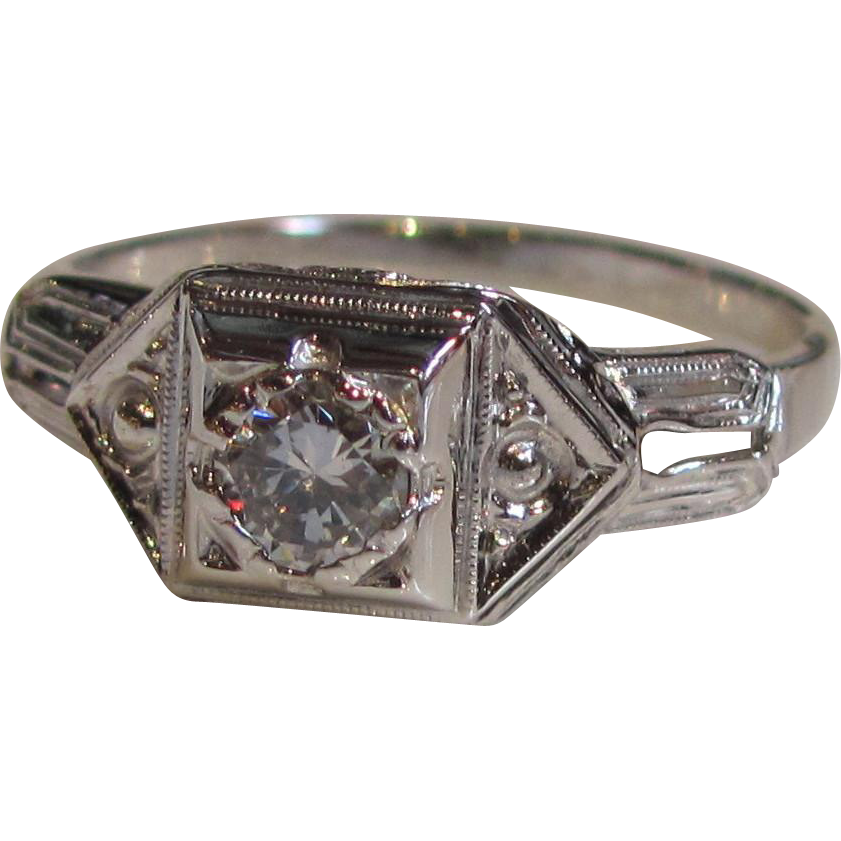 Antique Art Deco 18K White Gold Diamond Ring Circa 1925 .26ct.