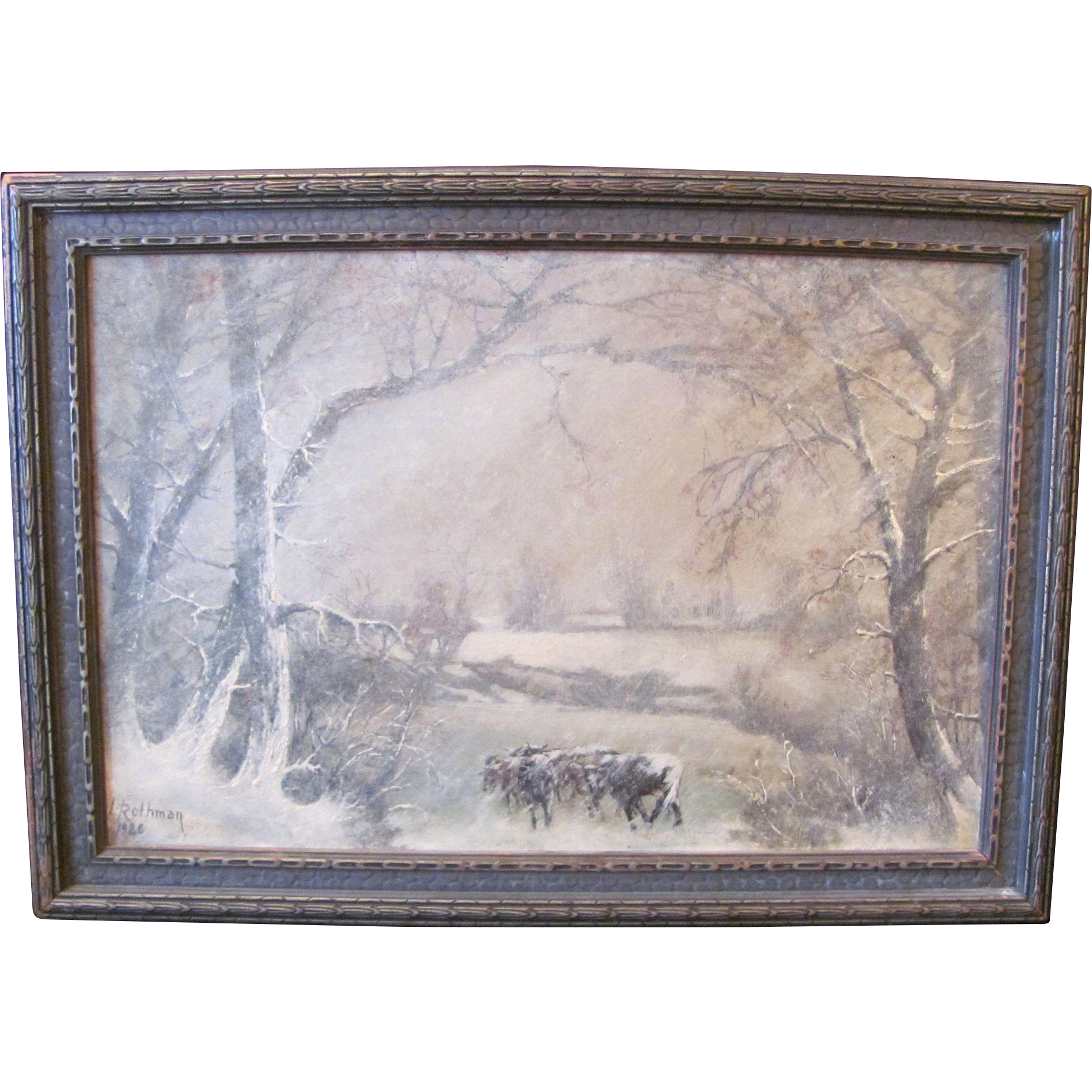 American Midwest Oil on Board Painting Signed L. Rothman 1926