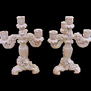 Pair of Antique German Porcelain Candelabra Circa 1910