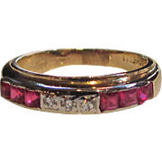 Vintage 14K Ruby and Diamond Ring Band Circa 1940 - Red Tag Sale Item