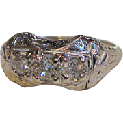 Antique 18K White Gold Diamond Filigree Ring Circa 1920 .65cts