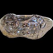 Antique 18K White Gold Diamond Filigree Ring Circa 1920 .65cts