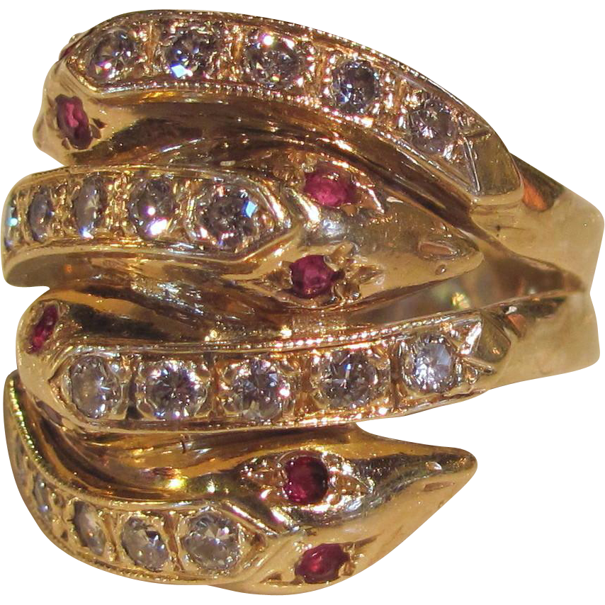 14K Diamond Ruby Serpent Ring Victorian Style