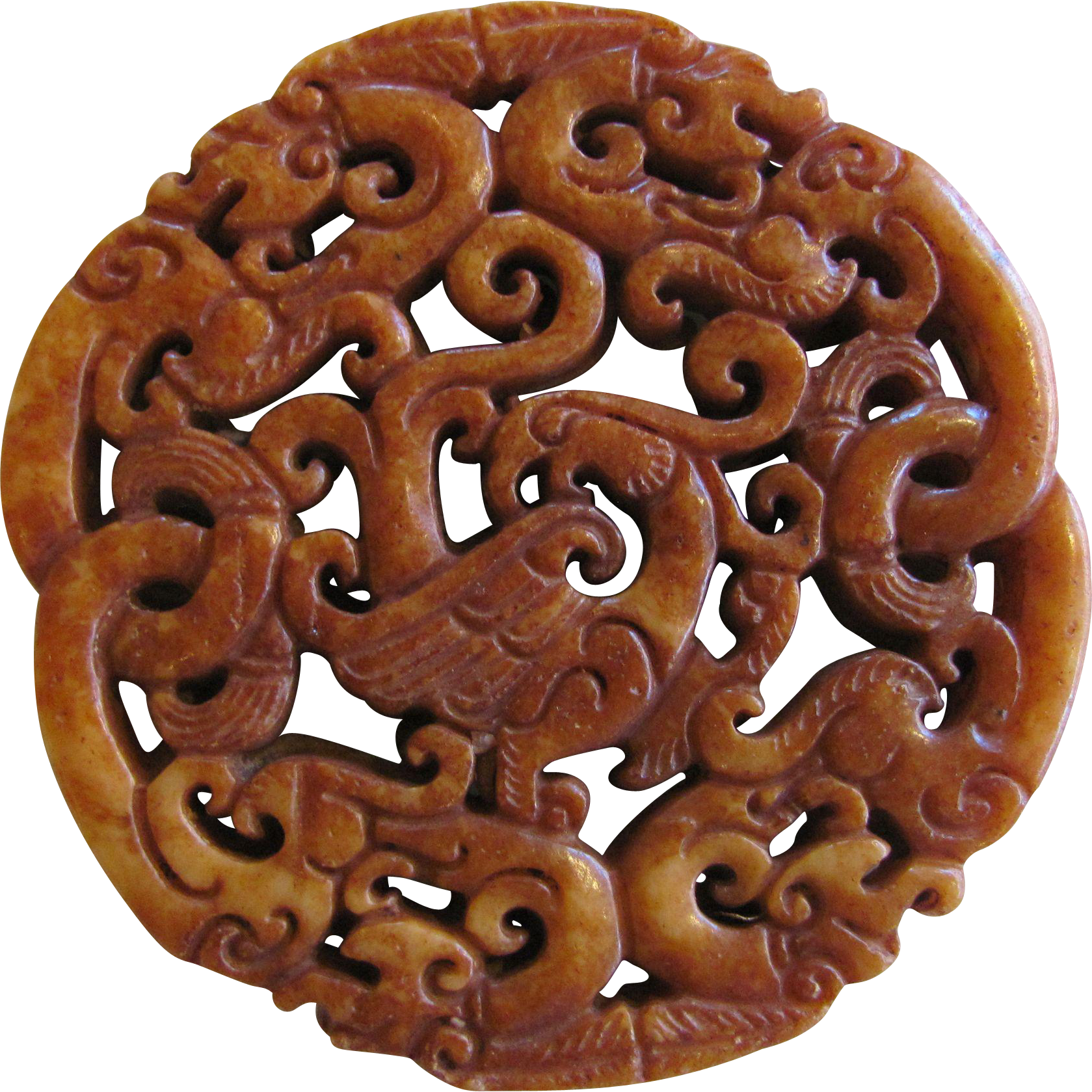Antique Chinese Jade Carving Dragon Disc