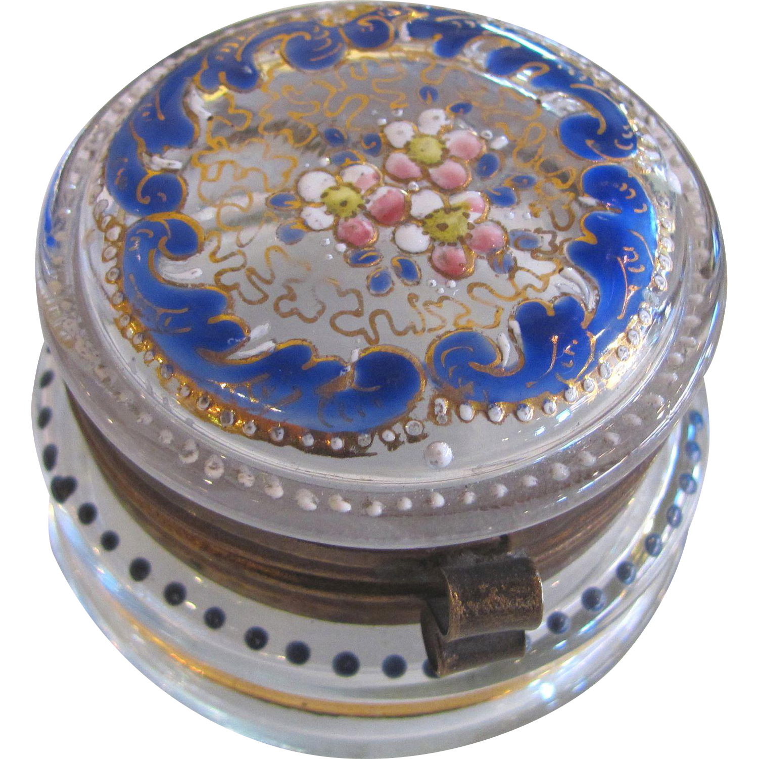 Antique Moser Style Enameled Glass Snuff Box 19th Century
