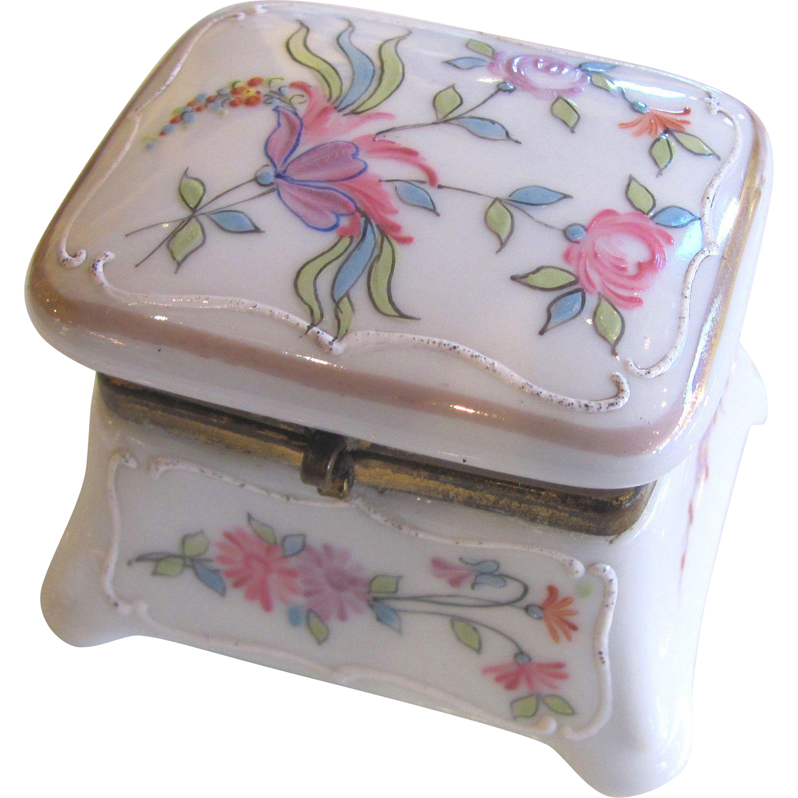 Antique Enameled Porcelain Trinket Box Circa 1900