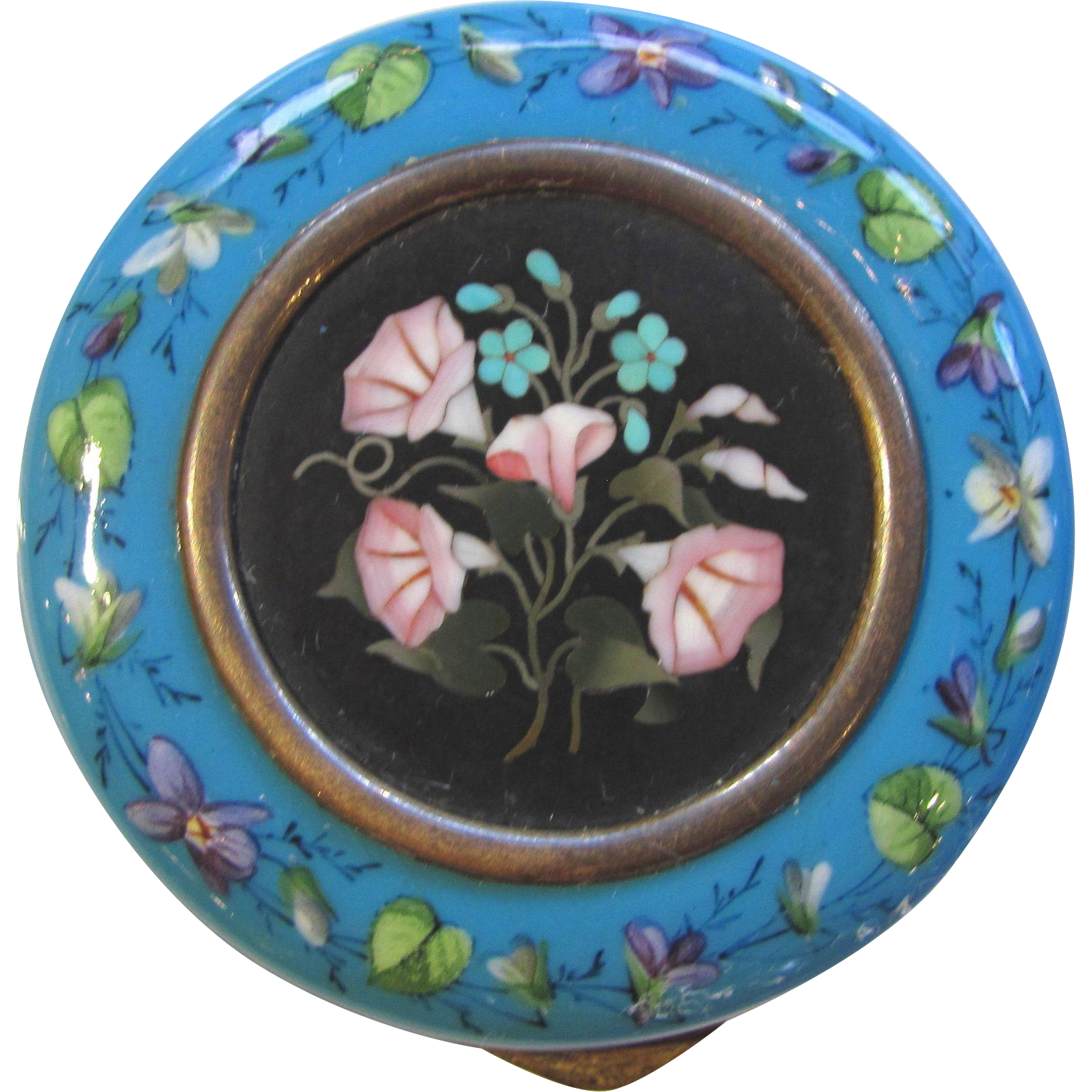 Antique Italian Enamel Pietra Dura Snuff Box 19th Century