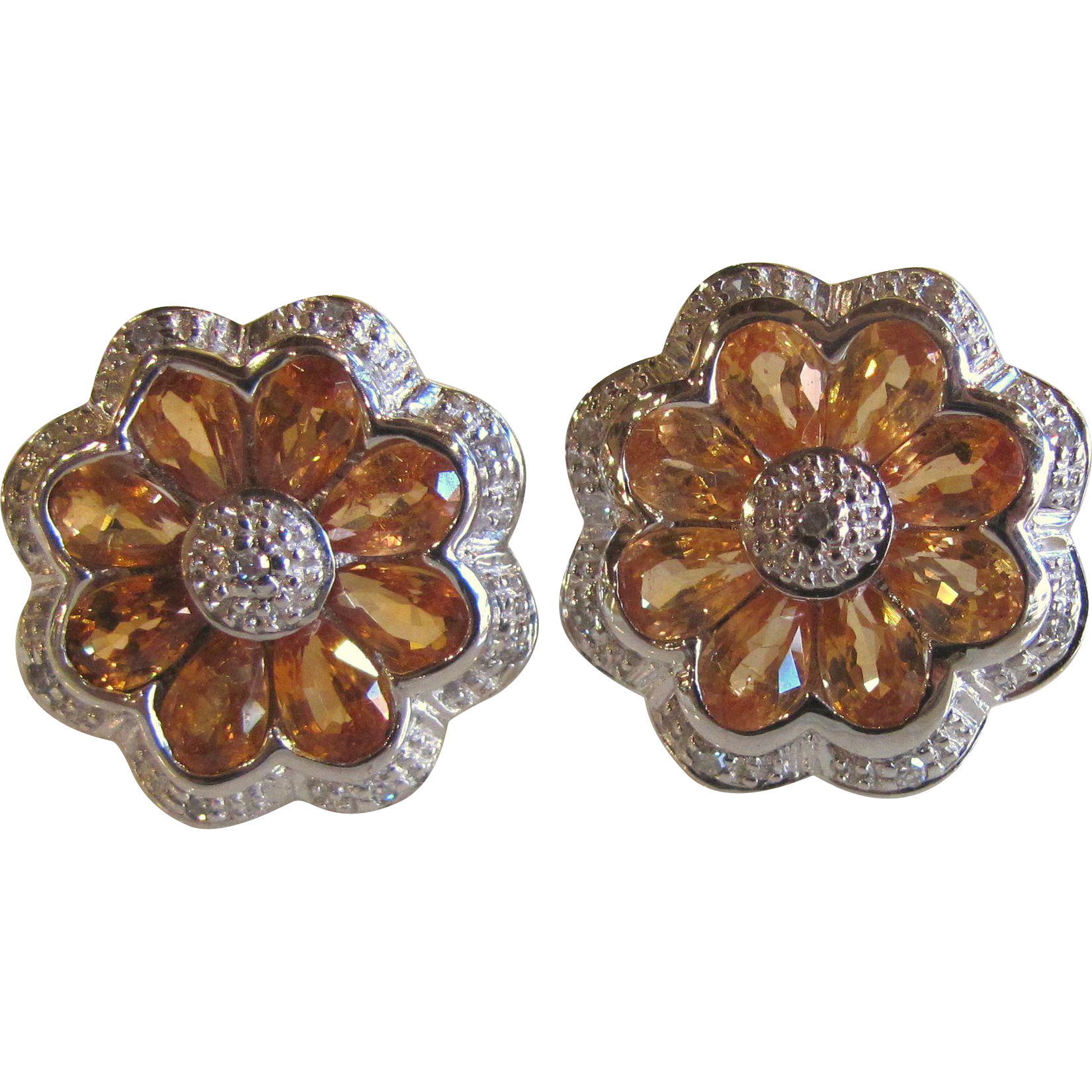 Vintage 14K White Gold Citrine Diamond Earrings